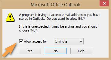 in Outlook Zugriff auf Adressbuch gewähren