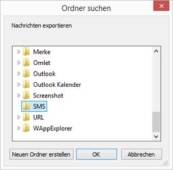 iPhone SMS am PC Zielspeicherort