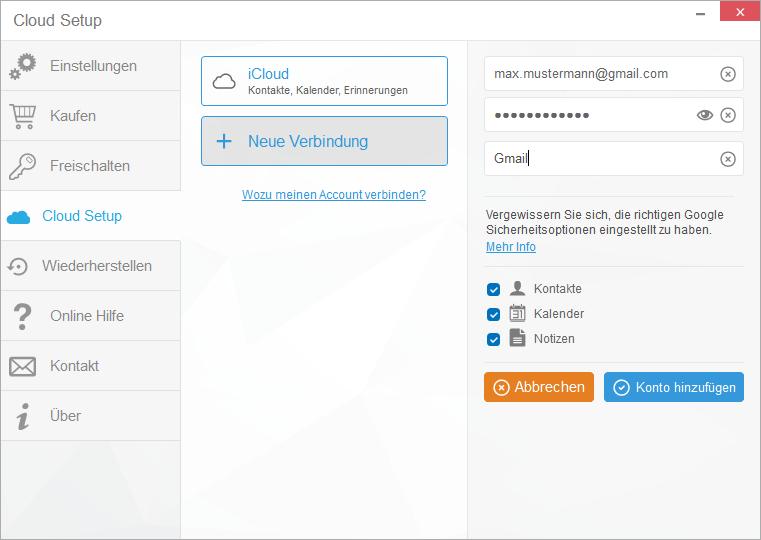 gmail cloud daten eingeben