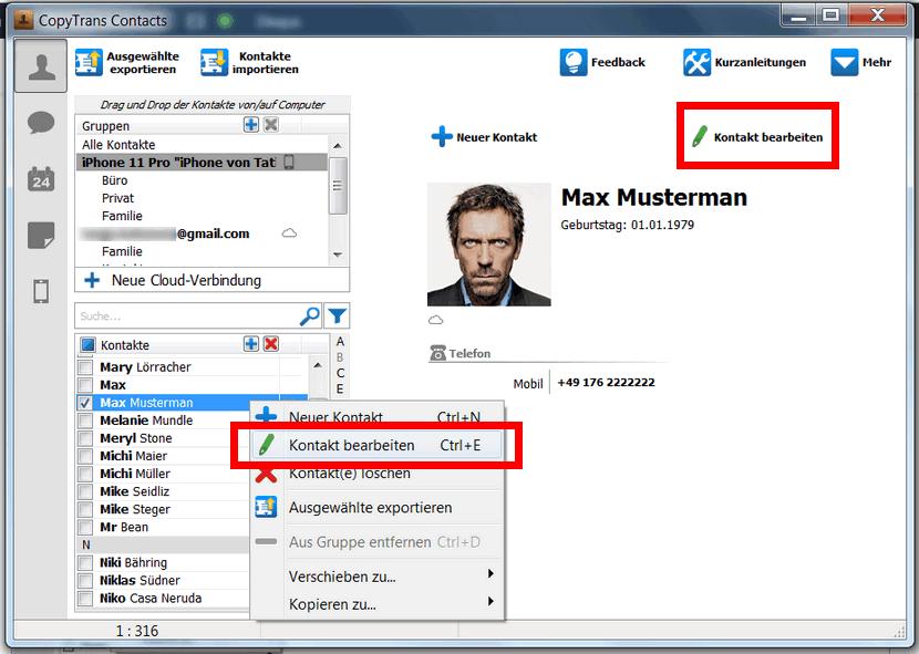 iCloud Kontakte bearbeiten