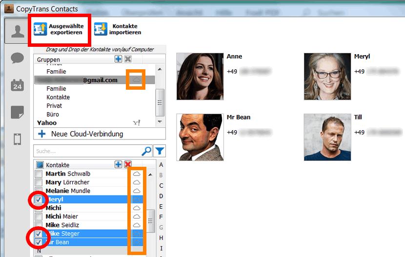 iCloud Kontakte exportieren