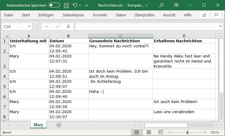 iPhone SMS in Excel exportiert