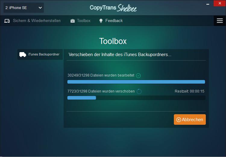 iTunes Backup Speicherordner verschieben