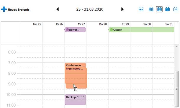 Kalender im Programm bearbeiten