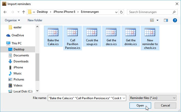 reminder am iphone importieren