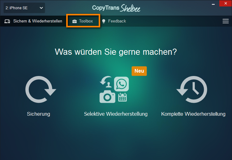 iTunes Backup Ordner ändern