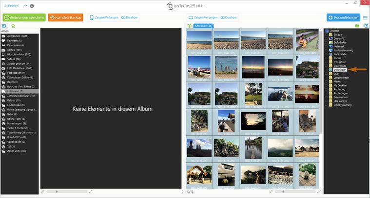 Bilder auswählen zum übertragen auf iPhone