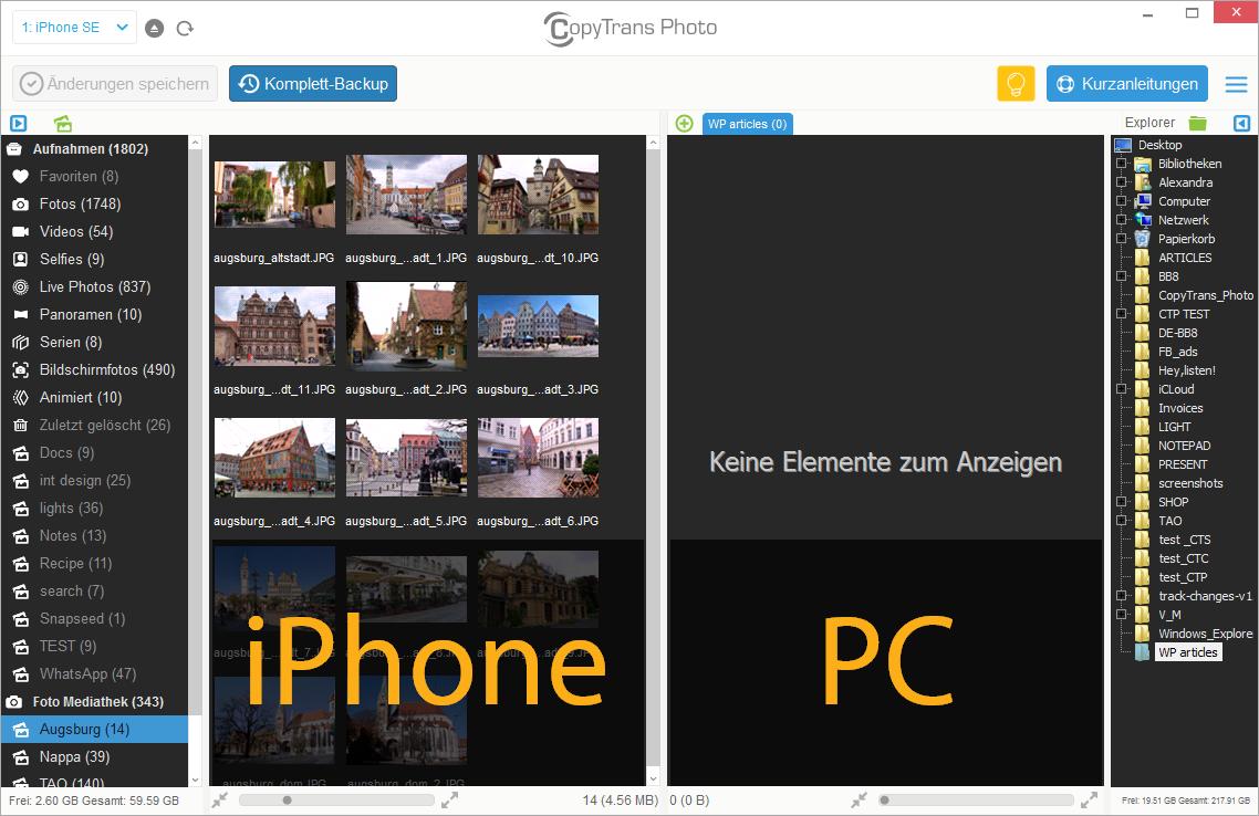 Fotos von Handy auf PC laden