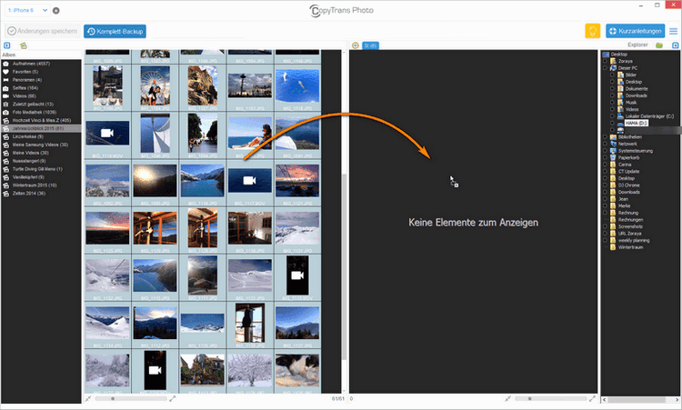 Fotos von iPhone auf Festplatte