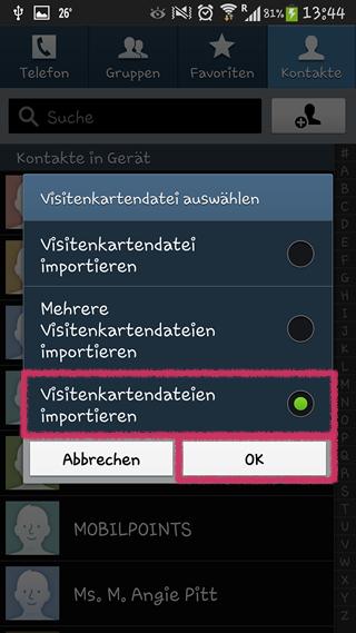 Samsung Galaxy Visitenkartendateien importieren