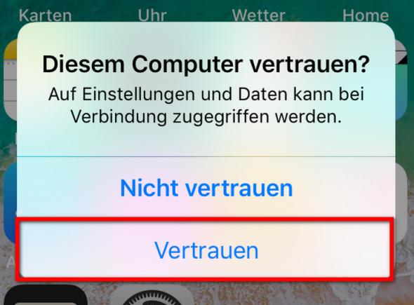 Dem Computer vertrauen  auf dem iPhone