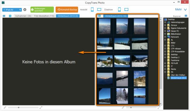 Bilder vom PC auf das iPad Air übertragem