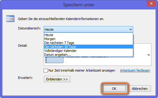 outlook kalenderinformationen speichern