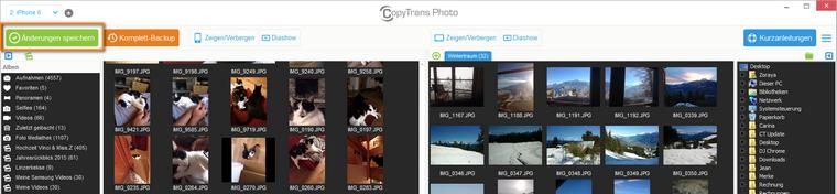 Löschen der Bilder im CopyTrans Photo bestätigen
