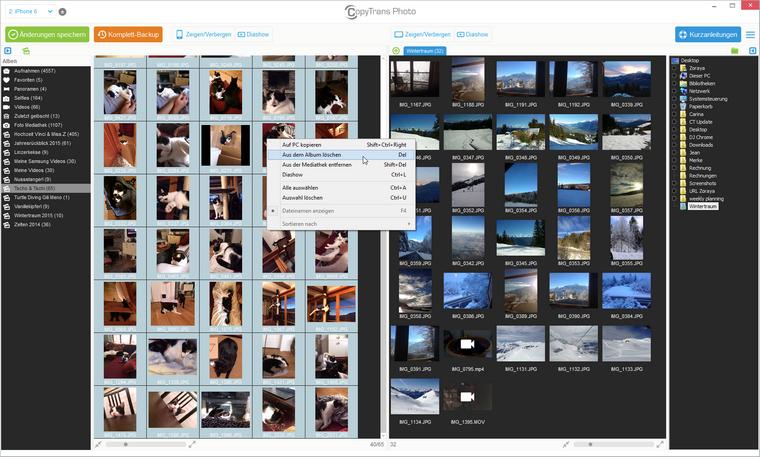 Ausgewählte Bilder im CopyTrans Photo löschen