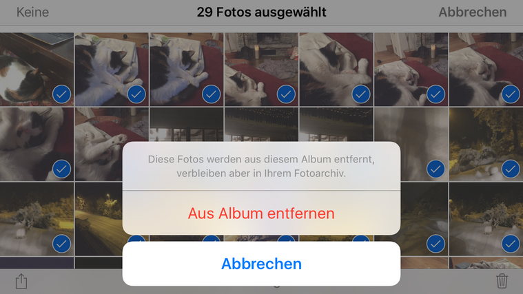iPhone Bilder zum löschen bestätigen