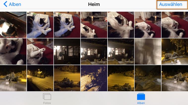 iPhone Aufnahmen Bilder auswählen