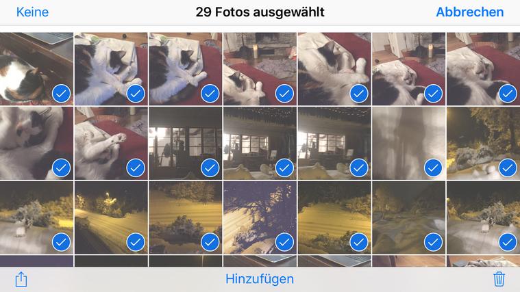 Bilder am iPhone zum löschen auswählen