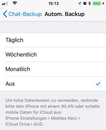 Automatisches Backup von WhatsApp einrichten