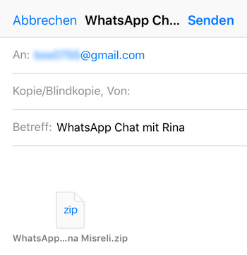 WhatsApp Chats per Email senden