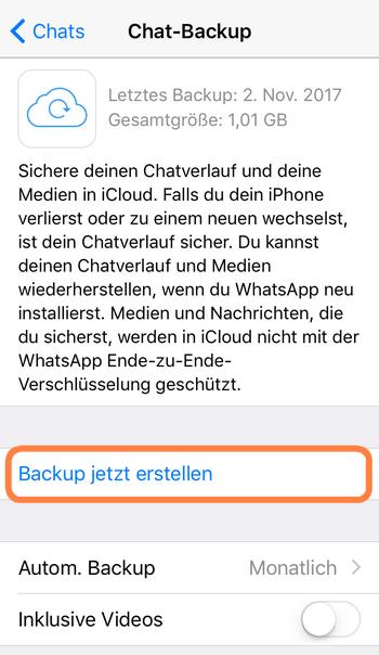 WhatsApp Chats in iCloud sichern