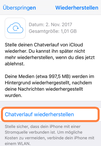 WhatsApp Chats am neuen iPhone wiederherstellen