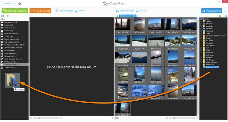 Komplettes Album von PC auf iPad übertragen