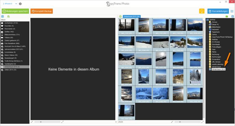 Fotos zur Übertragung auswählen