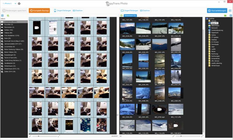 Bilder unter Aufnahmen zum Löschen wählen