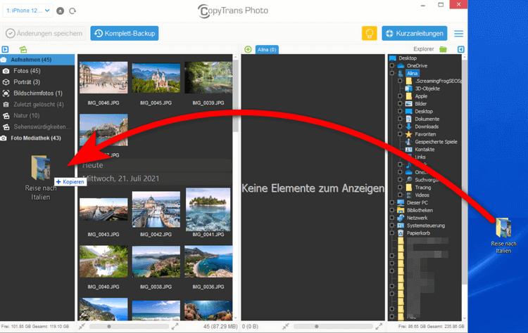 iPhone Fotoalbum erstellen und den ganzen Ordner übertragen