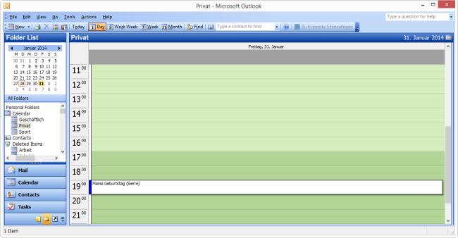 iCloud Kalender in Outlook