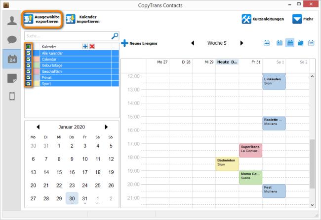 Ausgewählte Kalender exportieren