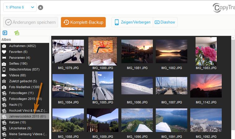 iPhone Fotoalbum für Diashow auswählen
