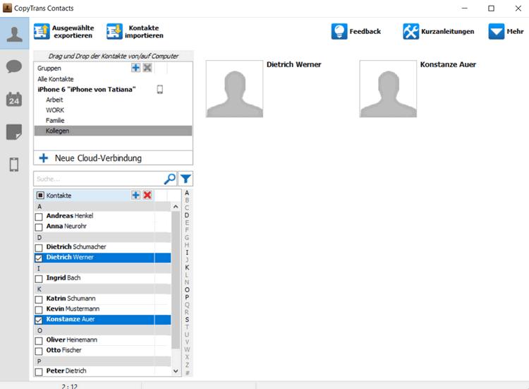 Skype Kontakte auf dem iPhone werden importiert