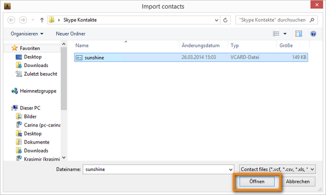 vCard-Datei zum iPhone importieren