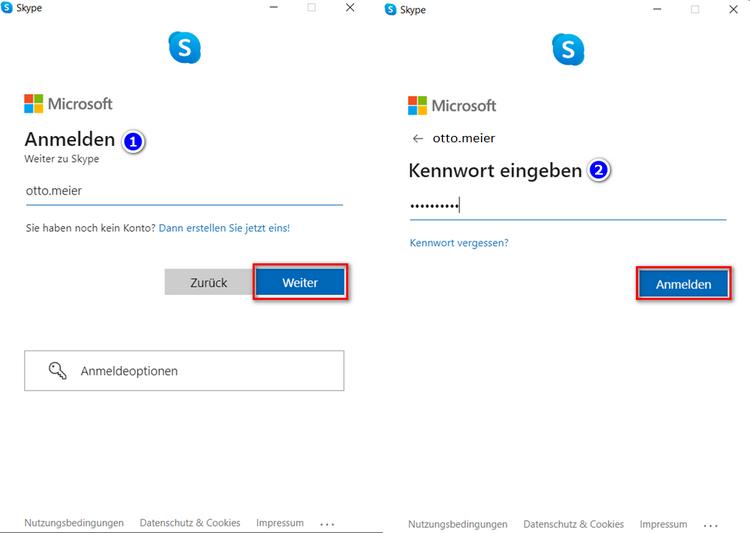 Mit Nutzernamen und Passwort in Skype anmelden