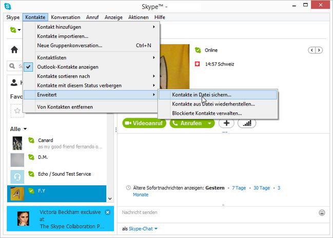 Skype-Kontakte in Datei sichern