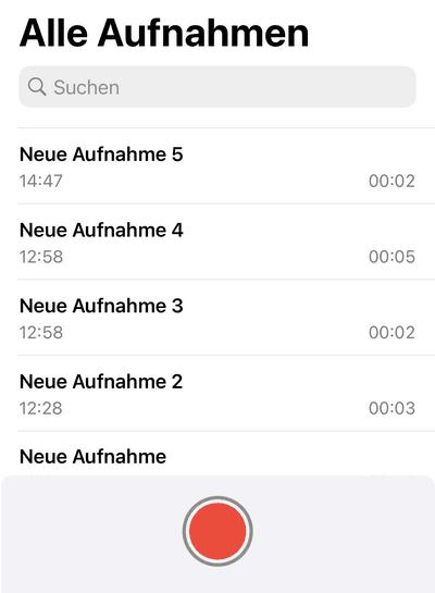 iPhone Sprachmemos Liste