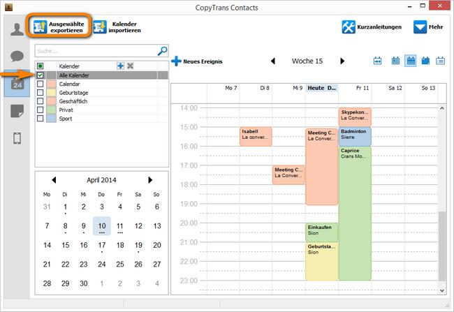 CopyTrans Contacts alle Kalenderkategorien