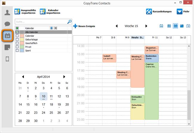 CopyTrans Contacts Kalenderansicht