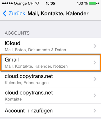 Gmail Konto am iPhone honzugefügt
