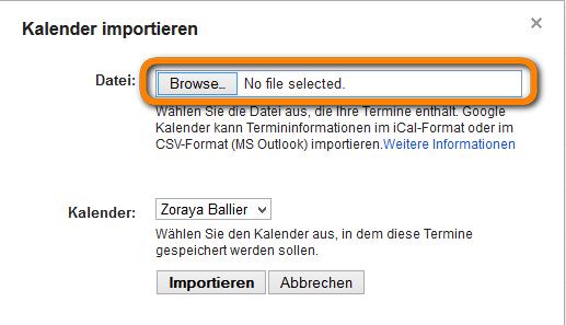 Kalendereinträge im Browser suchen