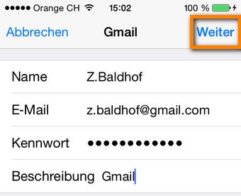 Gmail Zugangsdaten hinzufügen