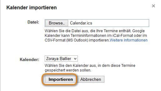 Kalendereintäge importieren in Gmail