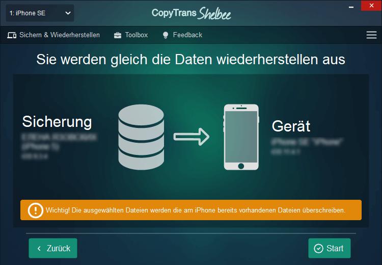 Apps aus dem Backup wiederherstellen