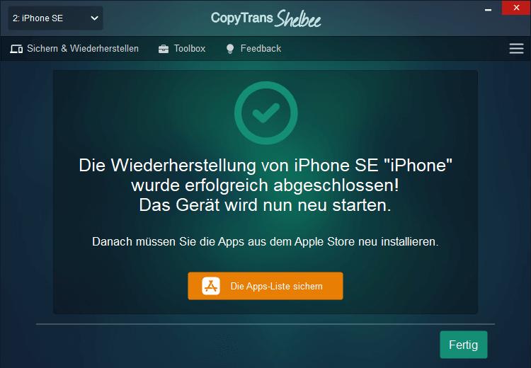 Apps Liste sichern