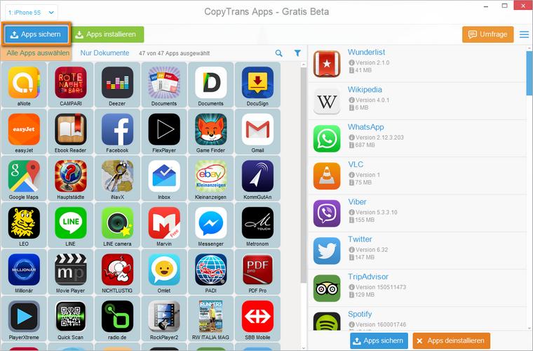 iOS Apps zum PC übertragen