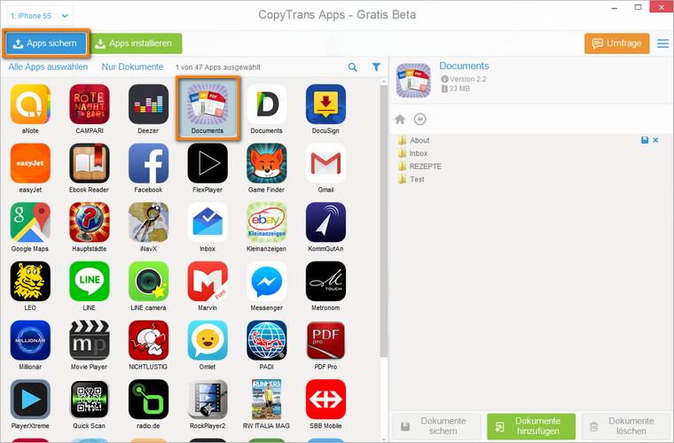 iPhone, iPad und iPod Touch Apps sichern am PC
