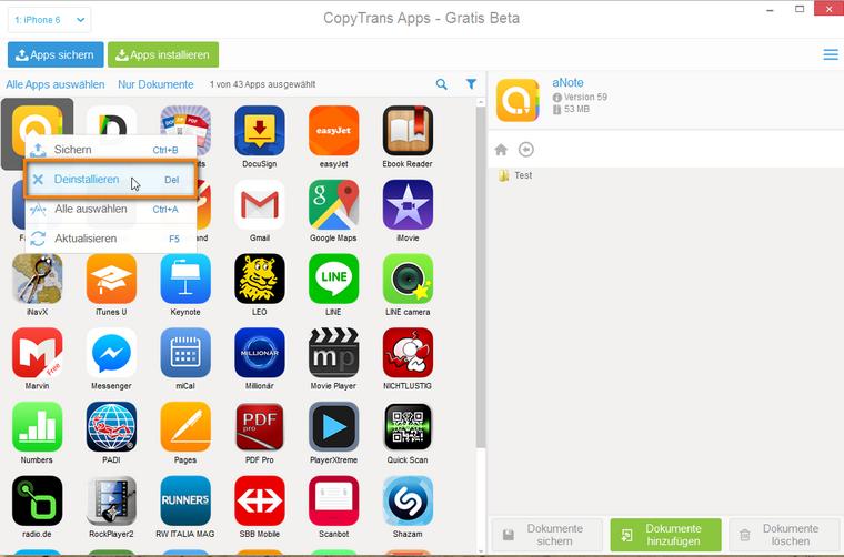 IOS Apps am PC deinstallieren
