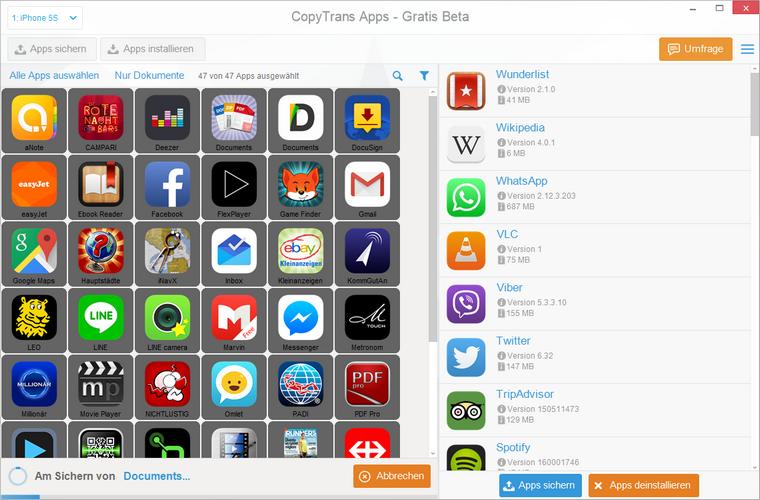 Apps am PC sichern